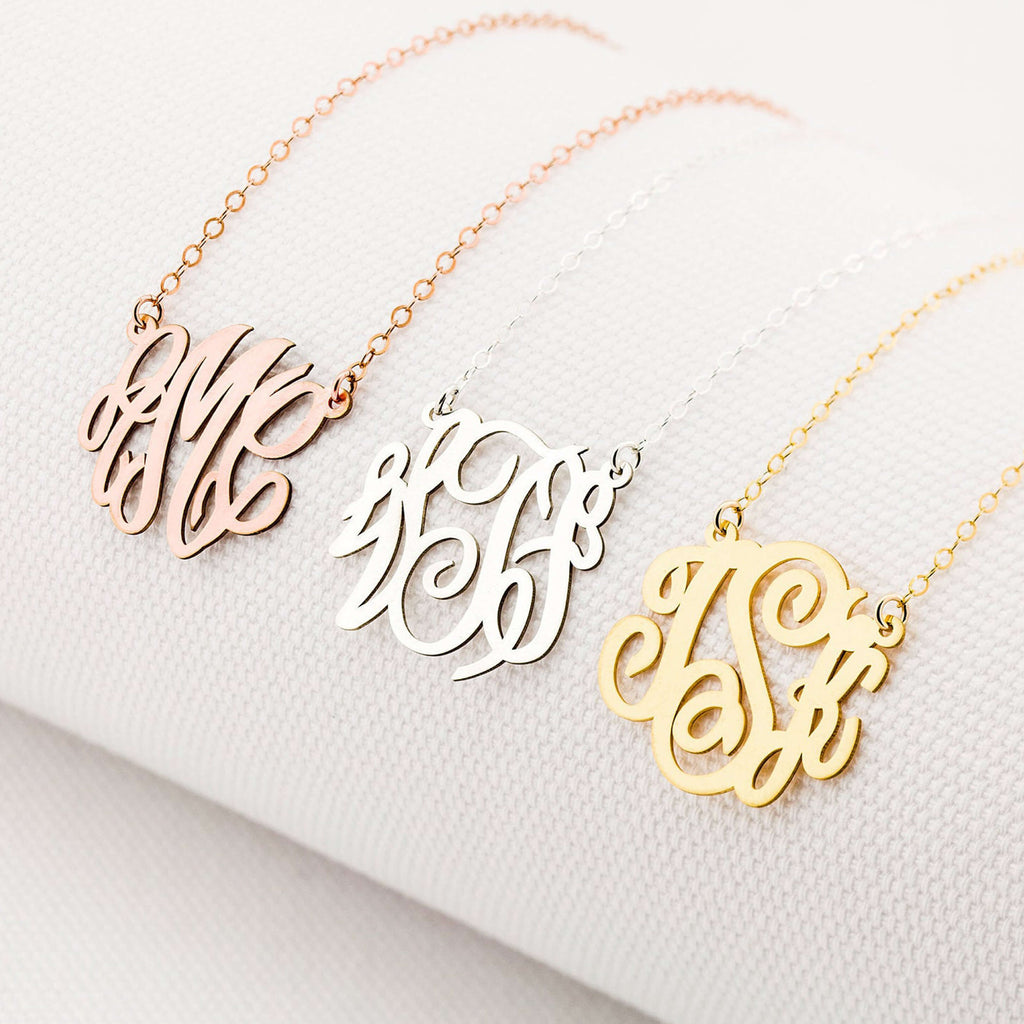 Bridesmaid Gifts Monogram Initials Necklace Personalized Initials Necklace Custom Dainty Initials Necklace Name Jewelry - urweddinggifts