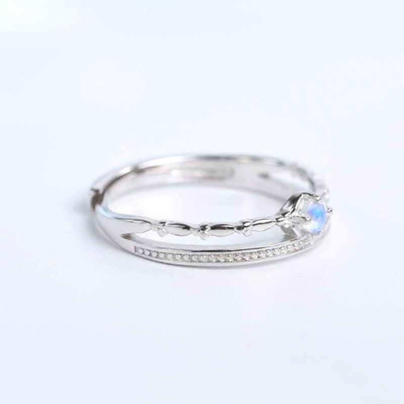 Bridesmaid Gifts Moonstone Ring Double Layer Natural Moonstone Rings Dainty Jewelry - urweddinggifts