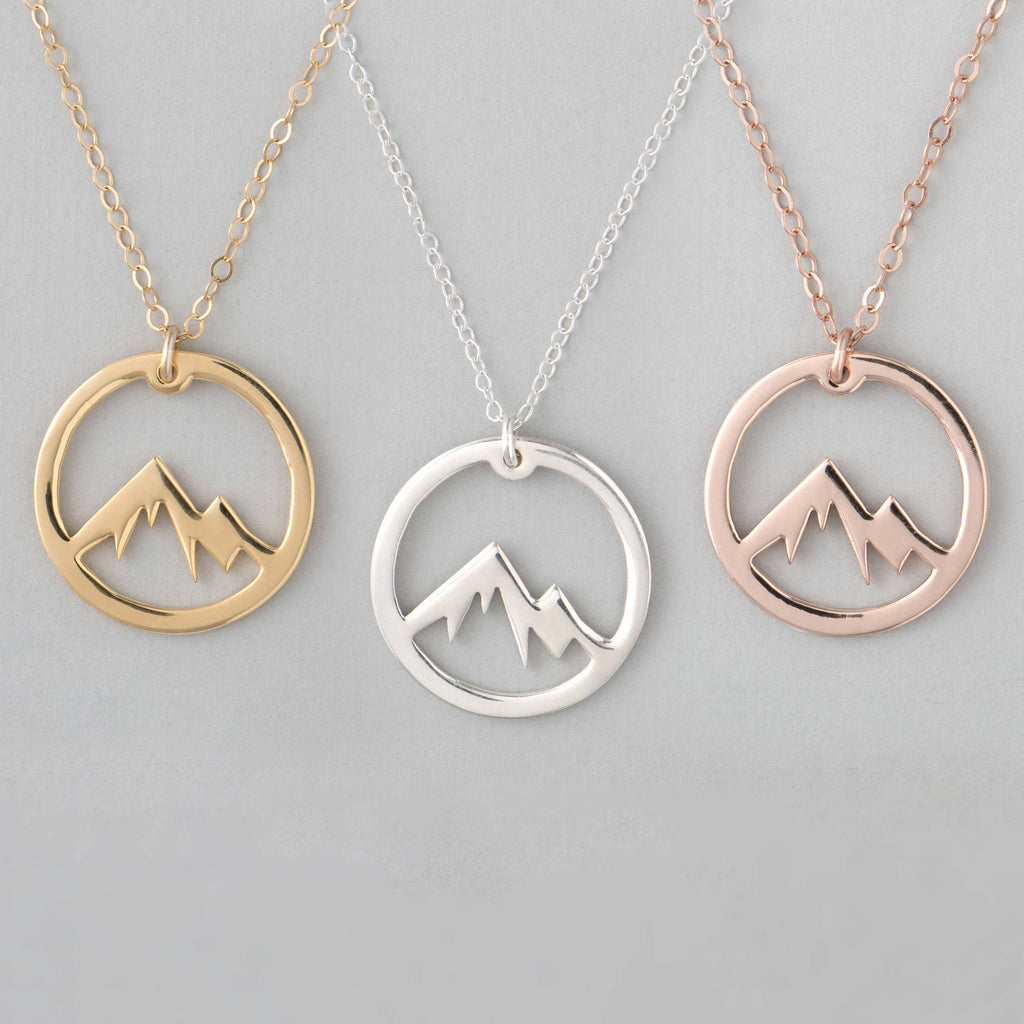 Bridesmaid Gifts Mountain Necklace Wanderlust Necklace Mountain Charm Necklace - urweddinggifts