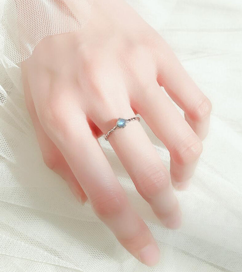 Bridesmaid Gifts Natural Moonstone Ring Adjustable Silver Ring Dainty Moonstone Ring - urweddinggifts