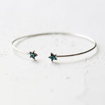 Bridesmaid Gifts Open Star Cuff Adjustable Silver Bangle Zirconia Stars Bracelet Silver Dainty Jewelry - urweddinggifts