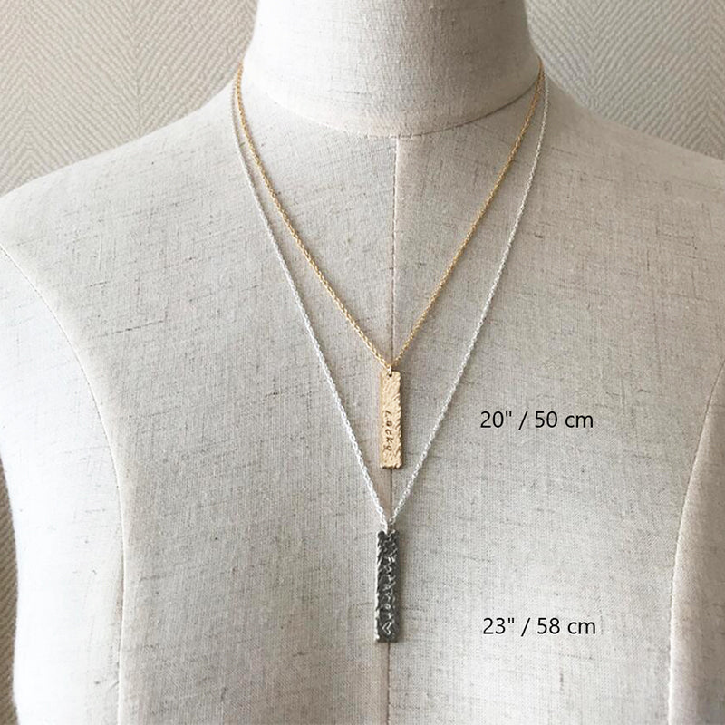 Bridesmaid Gifts Personalized Bar Necklace Vertical Bar Necklace Custom Coordinates Necklace Nameplate - urweddinggifts