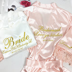 Bridesmaid Gifts Personalized Bride Robe Bridesmaid Robes Bridal Robe Custom Silk Lace Robe - urweddinggifts