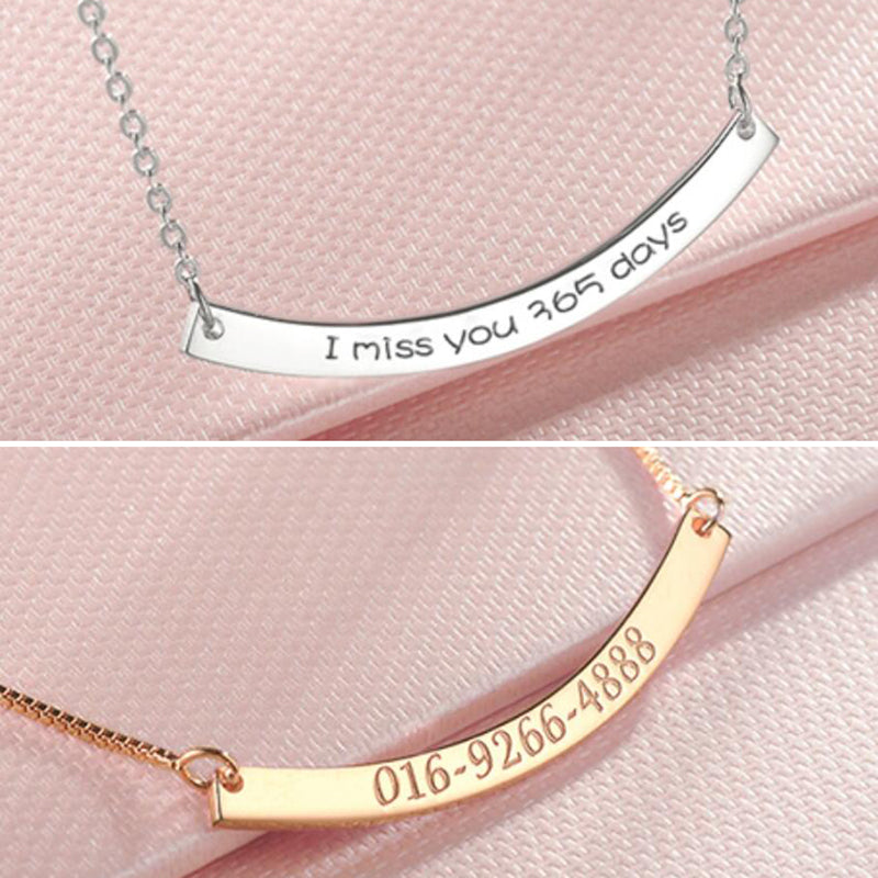 Bridesmaid Gifts Personalized Curved Bar Necklace Skinny Name Plate Necklace Engraved Name Necklace - urweddinggifts