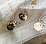 Bridesmaid Gifts Personalized Disc Necklace Engraved Necklace Monogram Pendant Necklace Custom Initials Necklace - urweddinggifts