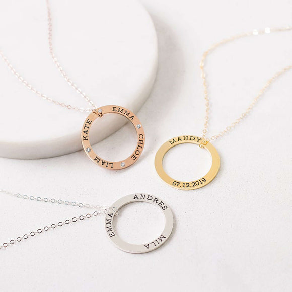 Bridesmaid Gifts Personalized Family Necklace Eternity Link Necklace Custom Name Necklace - urweddinggifts