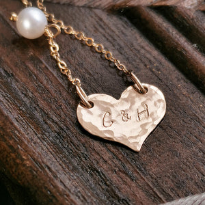 Bridesmaid Gifts Personalized Heart Necklace Engraved Heart Necklace Monogram Necklace - urweddinggifts
