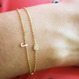 Bridesmaid Gifts Personalized Initial Bracelets Birthstone Bracelets Letter Bracelets - urweddinggifts
