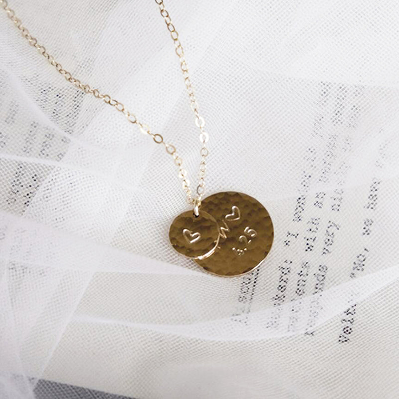 Bridesmaid Gifts Personalized Initials Necklace Tiny Disc Necklace Engraved Circle Tags Necklace - urweddinggifts