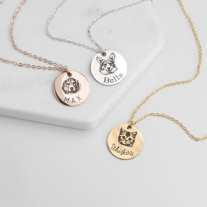 Bridesmaid Gifts Personalized Portrait Necklace Custom Dog Photo Necklace Engraved Cat Memorial Jewelry - urweddinggifts