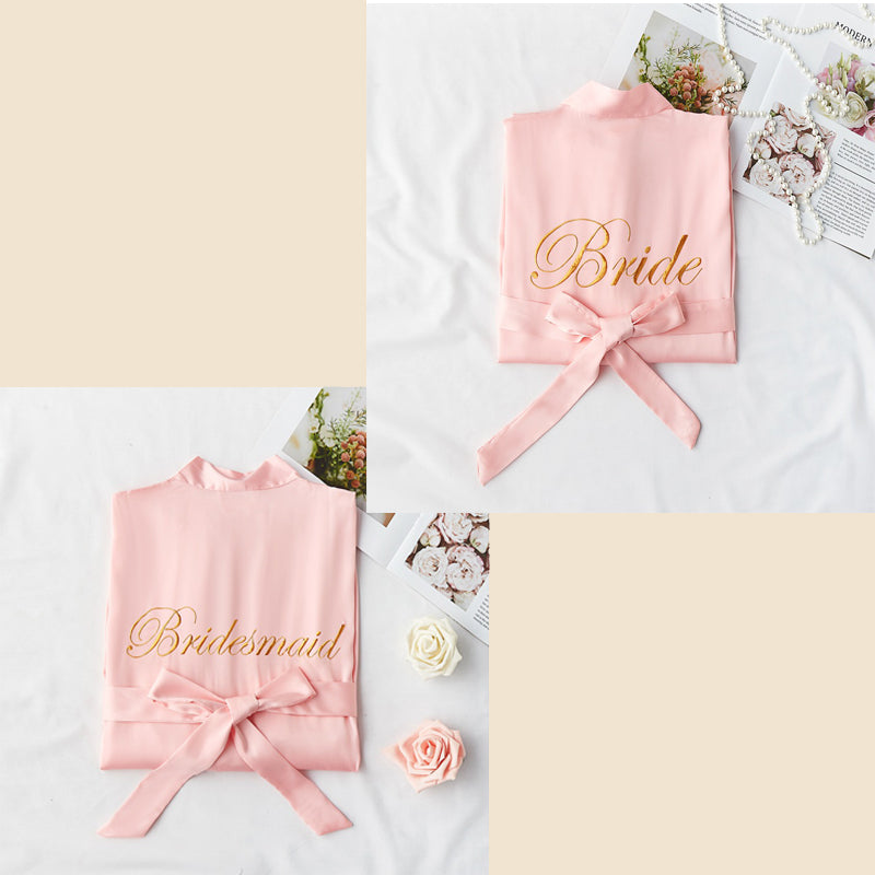 Bridesmaid Gifts Personalized Silk Robes Custom Bridesmaid Robes Embroidered Bride Robe - urweddinggifts