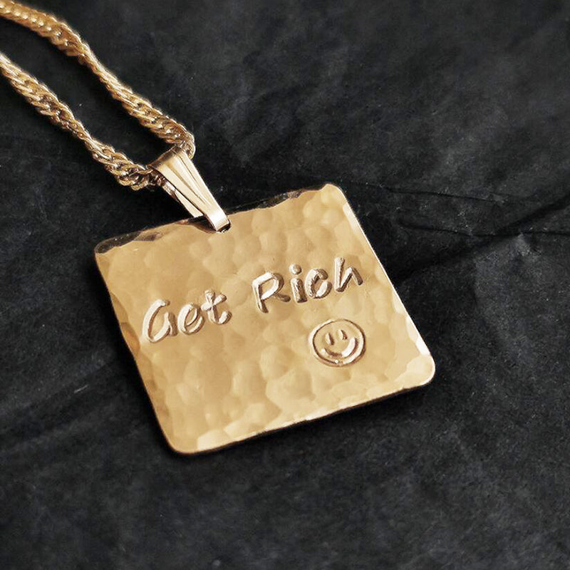 Bridesmaid Gifts Personalized Square Necklace Monogram Necklace Engraved Square Plate Necklace - urweddinggifts