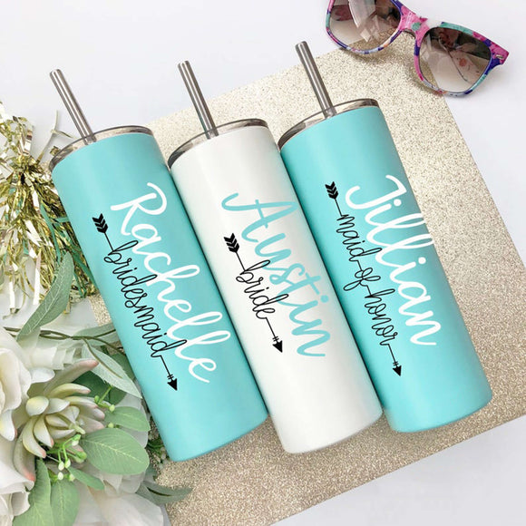 Bridesmaid Gifts Personalized Tumbler Bridesmaid Tumbler Insulated Tumbler Bridal Party Gifts Wedding Tumbler With Straw - urweddinggifts