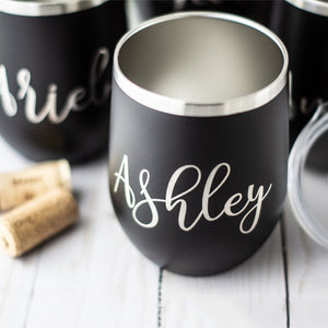 Bridesmaid Gifts Personalized Wine Tumbler Bachelorette Cups Engraved Bridesmaid Cups Custom Champagne Tumbler - urweddinggifts