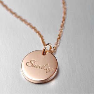 Bridesmaid Gifts Personalized necklace Custom Engraved Disc Necklace Initial Necklace - urweddinggifts