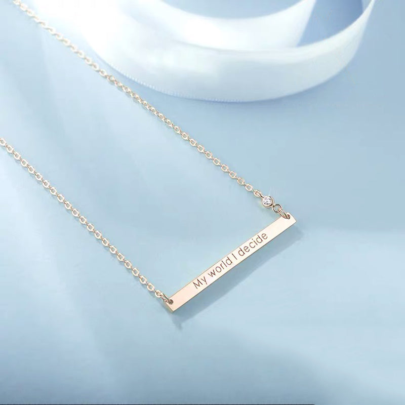 Bridesmaid Gifts Skinny Bar Necklace Custom Inspirational Bar Necklace Name Plate Jewelry - urweddinggifts
