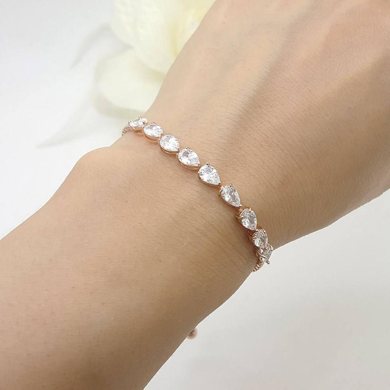 Bridesmaid Gifts Small Teardrop Cubic Zirconia Bracelet Slide Adjustable Bracelet Personalized Bracelet - urweddinggifts