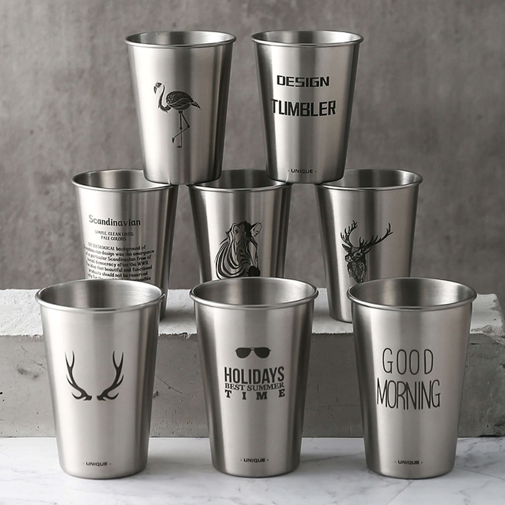 Bridesmaid Gifts Stainless Steel Cups Monogram Beer Mug Camping Cups Engraved Metal Cups - urweddinggifts