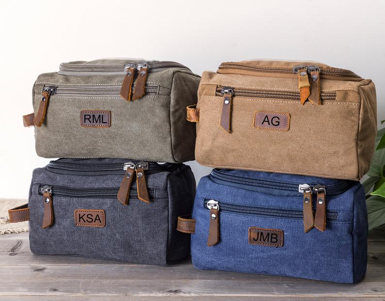 Personalized Canvas Dopp Kit Bag Canvas Toiletry Bag Monogram Mens Toiletry Bag Canvas Gift for Him, Father's Day Gift, Lifetime Canvas Gift