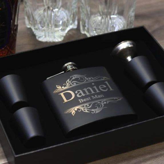 Groomsmen Gift Flask Set Personalized Engraved Box Set Women Best Man Bridesmaid Bachelor Party Proposal Wedding Favors Matte Black - urweddinggifts