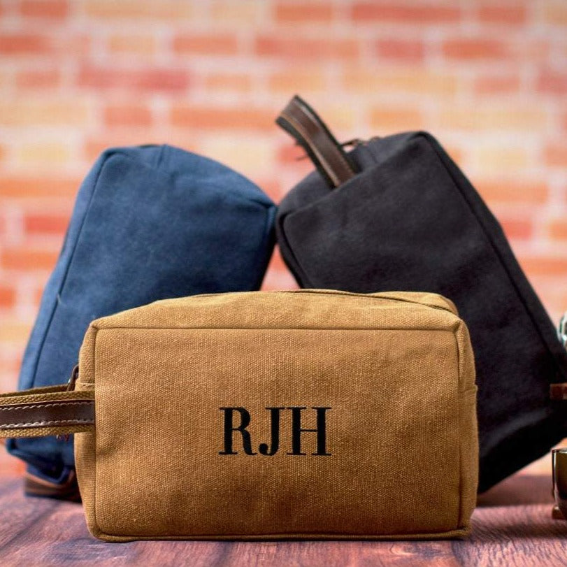Personalized Canvas Dopp Kit, Toiletry Bag for Groomsmen, Embroidered Shaving Kit, Christmas Gift Ideas