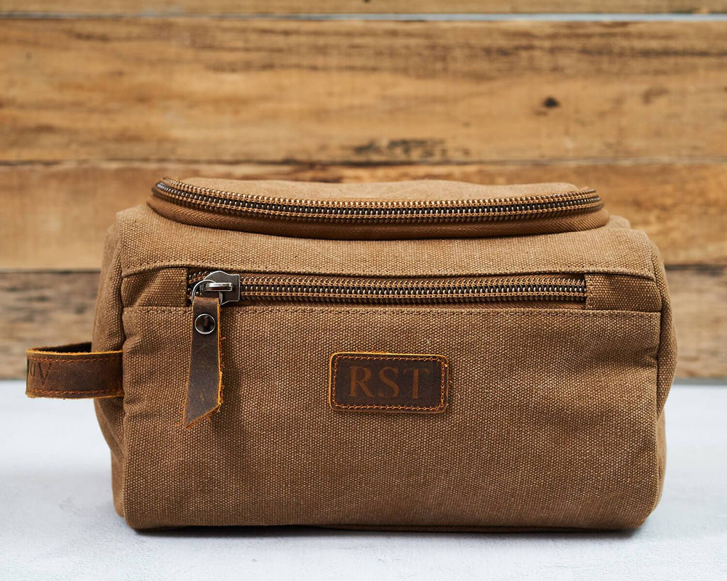 Groomsmen Gifts Personalized Canvas Dopp Kit Monogrammed Toiletry Bag Best Man Gift