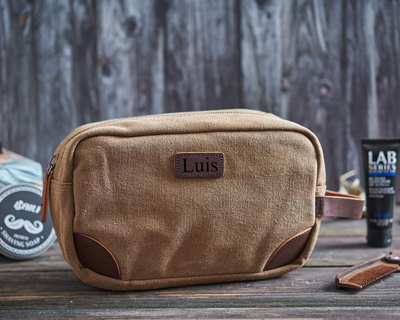 Groomsmen Gifts Personalized Dopp Kit Custom Toiletry Bag Engraved Canvas Shave Kit - urweddinggifts