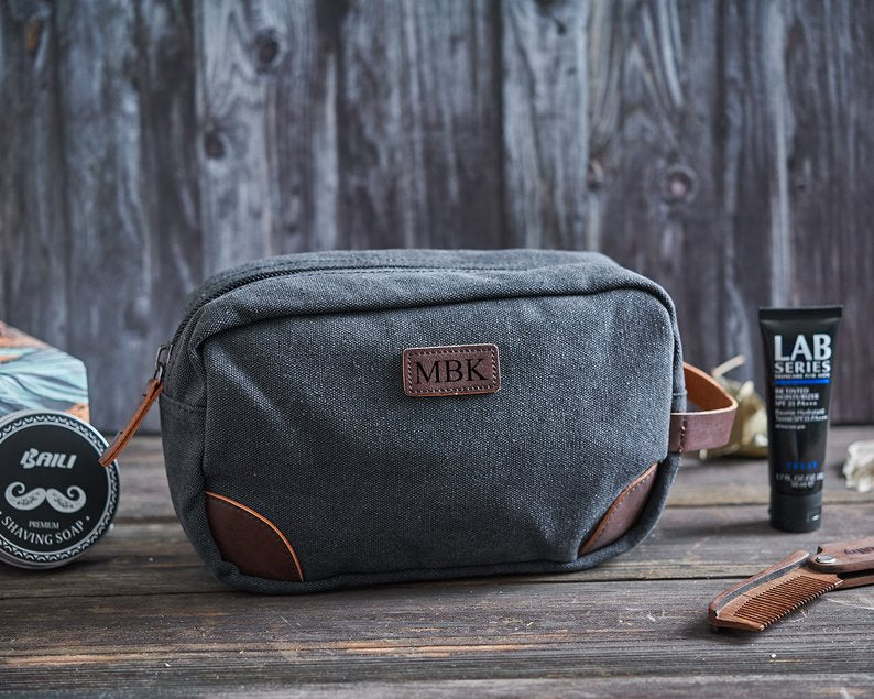 Groomsmen Gifts Personalized Canvas Dopp Kit Monogrammed Toiletry Bag Canvas Shave Kit - urweddinggifts