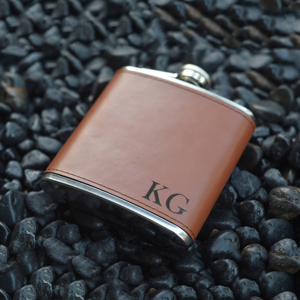 Groomsmen Gift Personalized Flask Customized Men Flask Engraved Leather Flask Usher Gift - urweddinggifts
