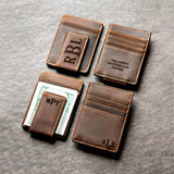 Personalized Leather Magnetic Money Clip, Leather Money Clip, Engraved Money Clip, Personalized Leather Money Clip Mens Money Clip - urweddinggifts