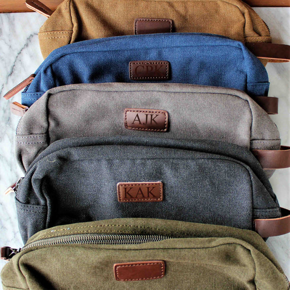 Groomsmen Gifts Travel Size Toiletry Bag Personalized Canvas Dopp Kit Handmade Usher Gift Custom Best Man Gift - urweddinggifts