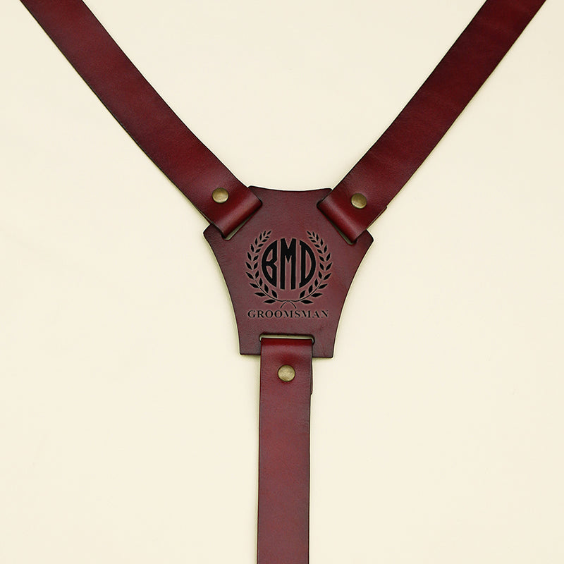 Groomsmen Gifts Custom Leather Suspenders Monogram Groomsmen Suspenders Wedding Party Suspenders - urweddinggifts