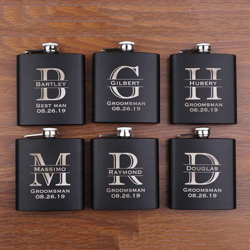 Groomsmen Gifts Groomsmen Flasks Personalized Flask Custom Flask Set For Groomsmen Monogrammed Flask Gifts - urweddinggifts