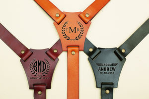 Groomsmen Gifts Leather Wedding Suspenders Personalized Groom Suspenders Custom Adjustable Groomsmen Suspenders - urweddinggifts