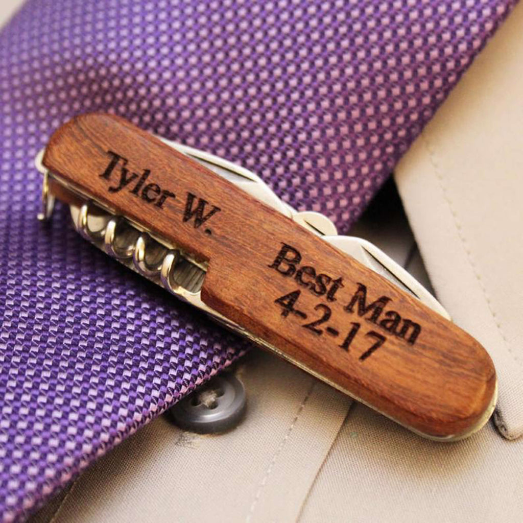 Groomsmen Gifts Personalized Bottle Opener Wooden Corkscrew Custom Corkscrew Usher Gifts - urweddinggifts