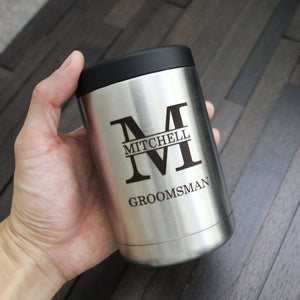 Groomsmen Gifts Personalized Can Cooler Engraved Stocking Stuffer Custom Can Cooler Tumbler - urweddinggifts