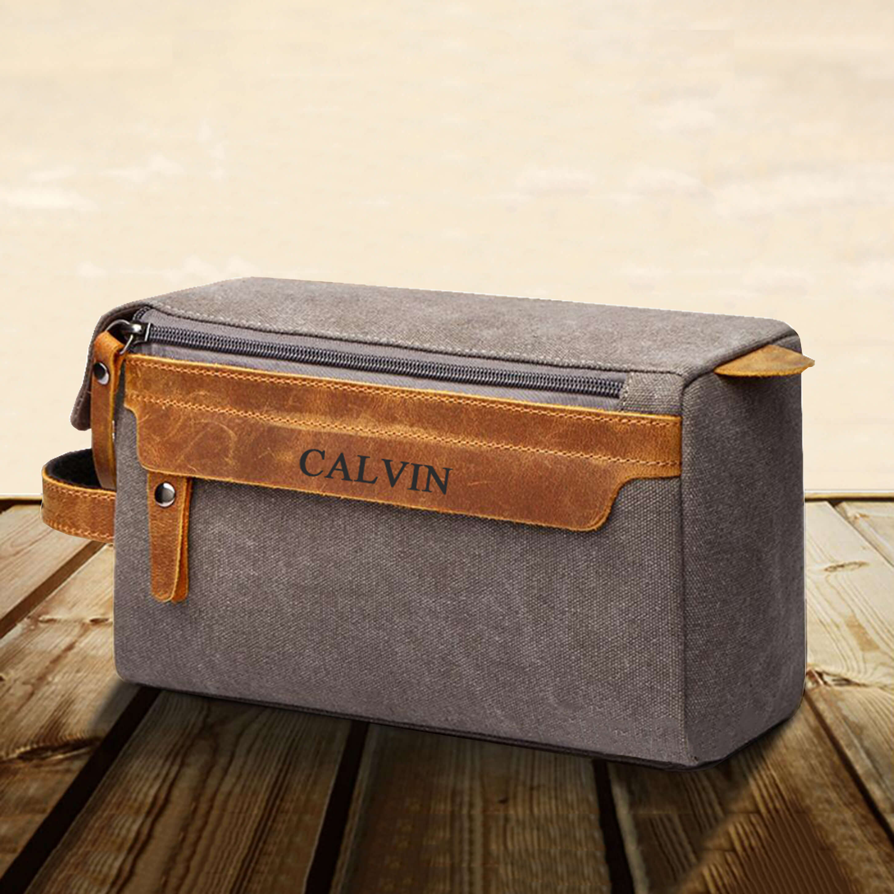 Groomsmen Gifts Personalized Canvas Dopp Kit Monogram Shaving Kit Mens Travel Case Toiletry Bag - urweddinggifts