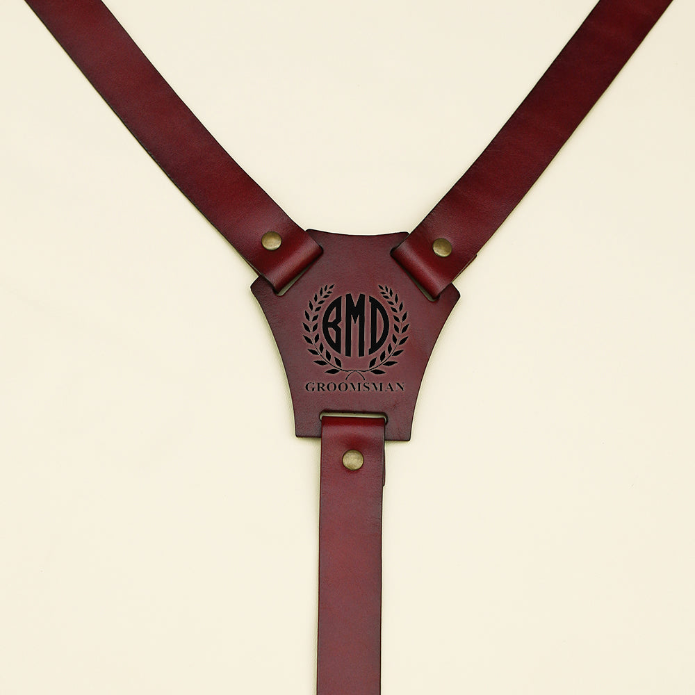 Groomsmen Gifts Personalized Leather Suspenders Monogram Wedding Suspenders Groom Suspenders Wedding Party Gifts - urweddinggifts