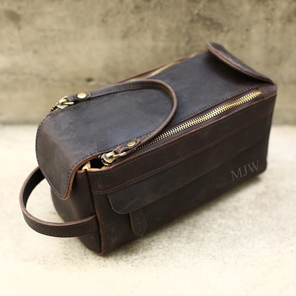 Groomsmen Gifts Personalized Leather Toiletry Bag Engraved Leather Dopp Kit Custom Mens Toiletry Bag - urweddinggifts