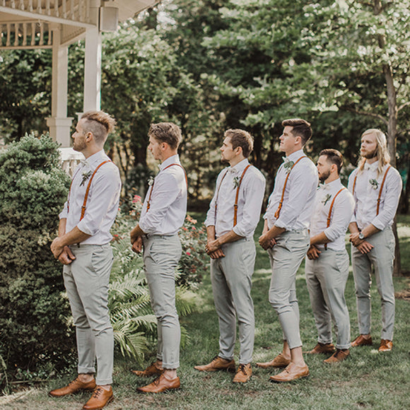 Groomsmen Gifts Personalized Men Suspender Custom Groomsmen Suspenders Wedding Suspenders Handmade Leather Suspenders - urweddinggifts