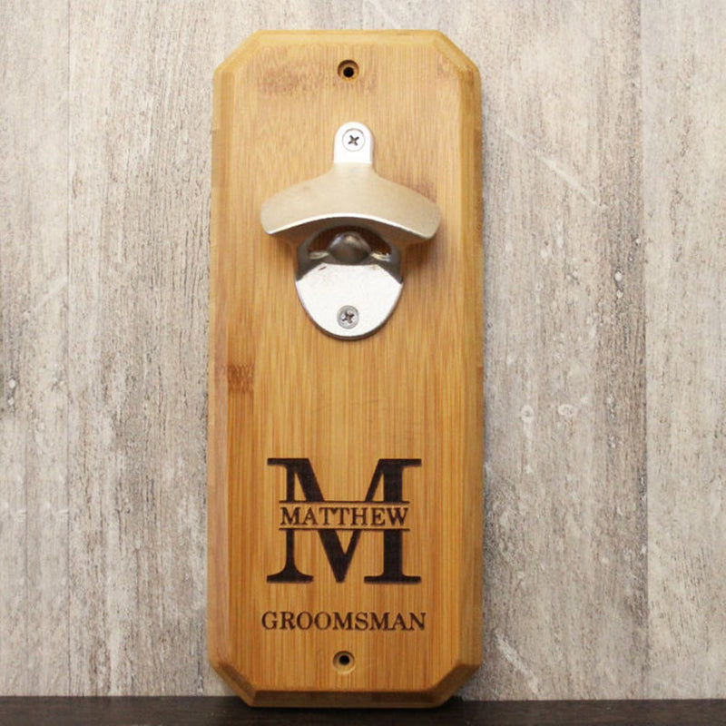 Groomsmen Gifts Wall Mounted Bottle Opener Personalized Bottle Opener Engraved Bottle Opener - urweddinggifts
