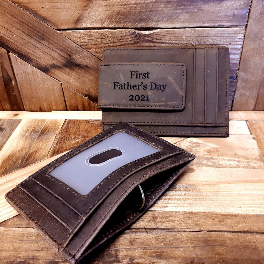 Personalized Money Clip with ID Window, Magnetic Clip Wallet, Blocking Monogrammed Slim RFID Wallet, Father's Day Gift