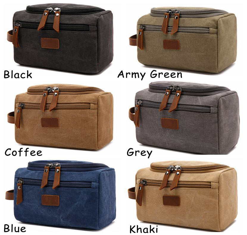 Personalized Canvas Dopp Kit Bag, Best Wedding Gift for Groomsmen, Mens Toiletry Bag, Birthday Gift for Him