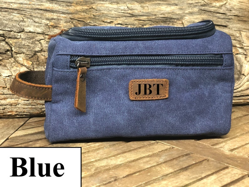 Dopp Kit Travel Bag, Personalized Groomsmen Gift, Custom Canvas Toiletry Bag, Father's Day Gift, Mens Toiletry Bag, Christmas Gift