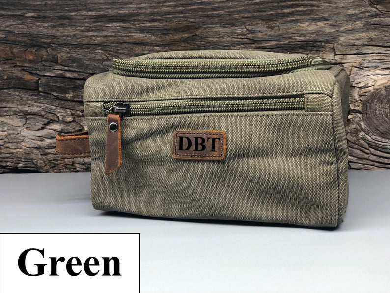 Personalized Canvas Toiletry Bag, Customized Groomsmen Gift Dopp Kit, Monogrammed Mens Toiletry Bag, Gift for Him