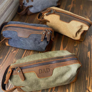 Personalized Toiletry Bag Gifts for Groomsmen, Gift For Him, Custom Dopp Kit, 3rd Anniversary Leather Shaving Kit - urweddinggifts