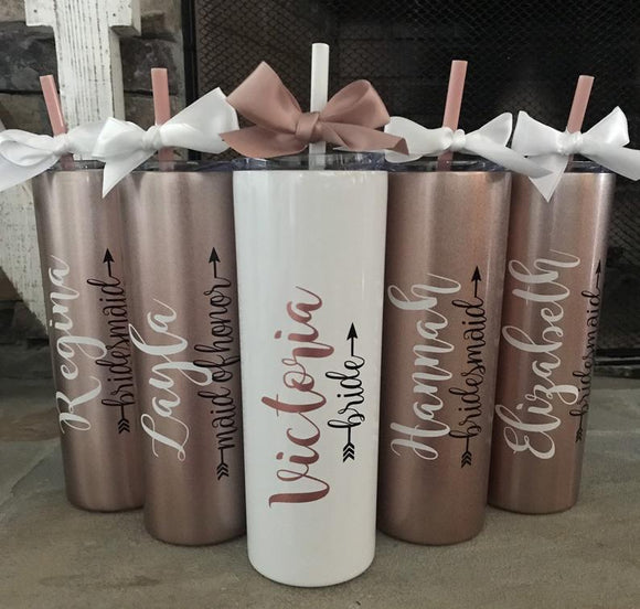 ROSE GOLD bridesmaid gift ideas, bridesmaids gifts on a budget, bridesmaid proposal box, brides tribe gifts, maid of honor tumbler - urweddinggifts