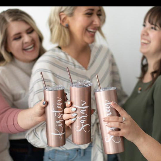 Tumbler With Lid and Straw Rose Gold & Gold, Stainless Steel, Skinny Tumbler, Personalized Gift for Mom, Christmas Gift for Her - urweddinggifts