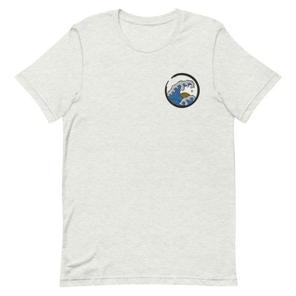 Embroidered blue and yellow wave design on ash grey t-shirt