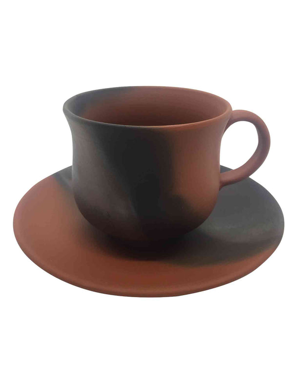 mumyoi cup with saucer black and ochre 3